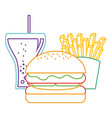 burger french fries and soda glass food vector image