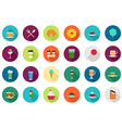 Cafeteria food round icons set vector image vector image