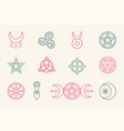 collection magical wiccan and pagan symbols vector image vector image