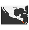 costa rica orange marked in political map of vector image vector image