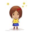 cute cartoon children girl vector image