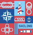 different nautical sailor knots and ropes compass vector image vector image