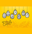 easter eggs in doodle style holiday banner easter vector image