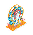 ferris wheel attraction for people during holidays vector image vector image