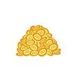 flat bitcoin golden coins pile heap vector image vector image