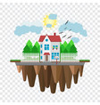 floating house flying home part of the rural and vector image