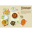 Fresh prepared weekend dinner flat icon vector image vector image