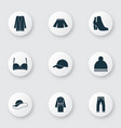 garment icons set with boots skirt clothes and vector image
