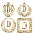 golden vintage monograms set heraldic logos d vector image vector image