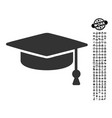 graduation cap icon with work bonus vector image