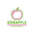 green and pink linear apple with leaf logo vector image