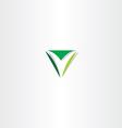green letter v logo triangle sign vector image vector image