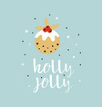 greeting card with christmas pudding vector image