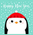 happy new year penguin head face red hat merry vector image vector image