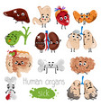 human sick organs cartoon character set vector image