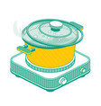 isometric pan with lid and boiling water on vector image vector image
