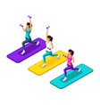 isometry girl make a lunging with dumbbells vector image vector image