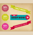 label shop now fantastic sale and discount vector image vector image