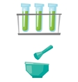 Laboratory glassware with mortar and pestle vector image vector image