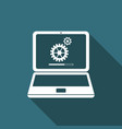 laptop update process with gearbox progress icon vector image vector image