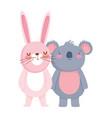 little rabbit and koala cartoon character on white vector image vector image