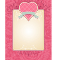 lovely pink valentine heart with grey ribbon vector image vector image