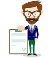 man in a suit holds contract vector image vector image