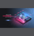 microchip processor with lights effects vector image