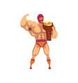 muscular wrestler standing and holding winner s vector image vector image