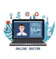 online doctor men healthcare concept icon set vector image