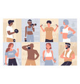 people at sports training workout set cartoon vector image vector image