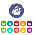 pig money icons set color vector image vector image