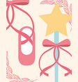 pink ballet pointe shoes and magic wand accessory vector image