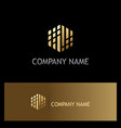 polygon shape digital gold logo vector image