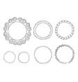 round doodle line art frames set vector image