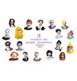 set modern art people faces icon character vector image vector image