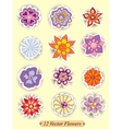 Set of colorful cute isolated flowers vector image