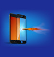 shot a bullet in protective glass a crack vector image