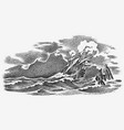 sinking ship at sea ocean storm strong waves vector image vector image