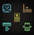 smart home automation icons set in neon style vector image