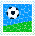 Soccer ball on the stamp vector image vector image
