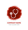 Stethoscope icon - red watercolor circle splash
