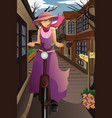stylish girl with old bike in the old city vector image vector image