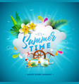 summer time with flower and vector image vector image
