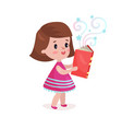 sweet beautiful little girl standing and reading vector image vector image