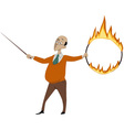 Teacher with a flaming hoop and a pointer vector image vector image