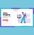 video blogging website landing page vector image vector image