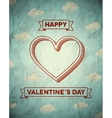 Vintage crumpled Valentines Day card with clouds vector image vector image