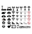 wifi set icons network related inline style vector image