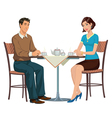 Young couple drinking tea at the table vector image vector image